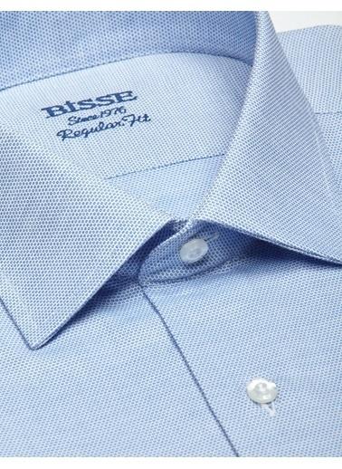 Bisse GM19Y91153 Regular Fit Dokulu Kısa Kollu Gömlek Mavi